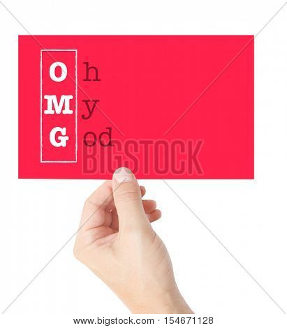 Oh My God explained on a card held by a hand
