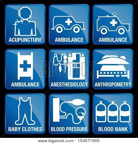 Set of Medical Icons in blue square background - ACUPUNCTURE, AMBULANCE, ANESTHESIOLOGY, ANTHROPOMETRY, BABY CLOTHES, BLOOD PRESSURE, BLOOD BANK