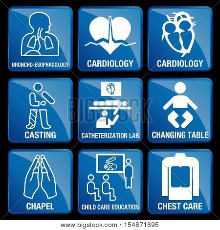 Set of Medical Icons in blue square background - BRONCO-ESOPHAGOLOGY, CARDIOLOGY, CASTING, CATHETERIZATION LAB, CHANGING TABLE, CHAPEL, CHILD CARE EDUCATION, CHEST CARE
