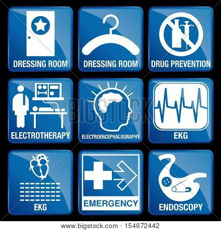 Set of Medical Icons in blue square background - DRESSING ROOM, DRUG PREVENTION, ELECTROTHERAPY, ELECTROENCEPHALOGRAPHY, EKG, EMERGENCY, ENDOSCOPY