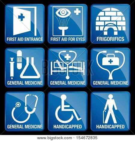 Set of Medical Icons in blue square background - FIRST AID ENTRANCE, FIRST AID FOR EYES, FRIGORIFICS, GENERAL MEDICINE, HANDICAPPED
