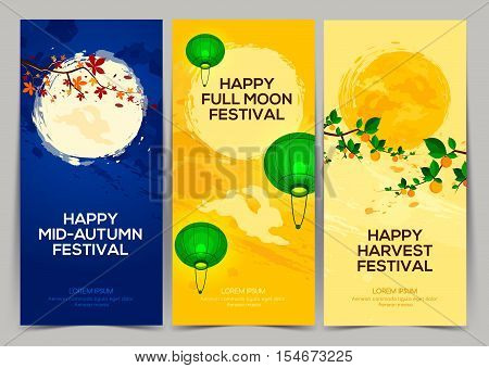 Happy Harvest Mid Autumn Festival. Three banners of full moon festival with persimmon tree chestnut tree rabbits and lantern. Stock vector