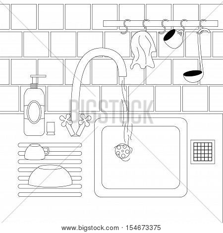Dish washing chores. Vector stock illustration of hands cleaning plate in a sink with usual kitchenware around in black outline.