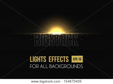 Sunrise or sunset, shiny sun light effect on transparent background. Sun beam or sun flare template. May be used for sunburst poster or star placard, sun sunbeams radiance