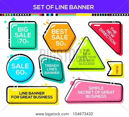 Set of modern sale banners. line design banners for website and mobile website easy to use. Sale and discount.