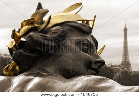 Statue Head And Eiffel Tower, Paris