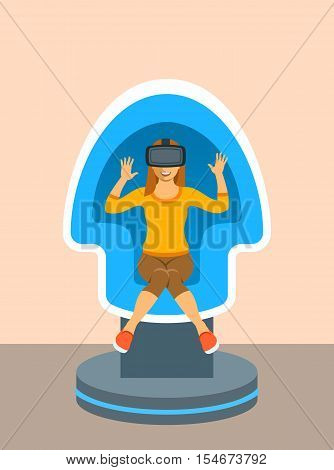 Young woman with virtual reality glasses in VR egg chair simulator. Flat vector illustration. Virtual 3d technology devices for entertainment. Electronic gaming equipment