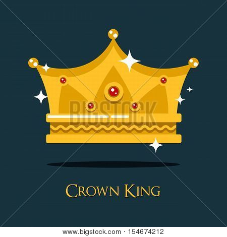 Royal crown for king or princess, queen gold tiara. Monarch imperial crown symbol of majesty and royalty, luxury gold prince crown emblem. May be used for old or vintage crown theme