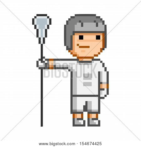Vector retro 8-bit pixel art funny lacrosse player.
