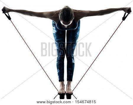woman fitness elastic  excercises silhouette