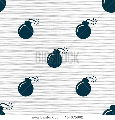 Bomb Icon Sign. Seamless Pattern With Geometric Texture. Vector