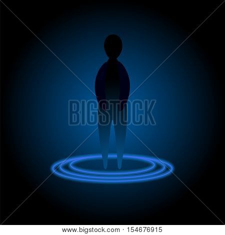 Silhouette inside teleport disc. Vector illustration for ufo future transportation technology sci-fi mystery character.