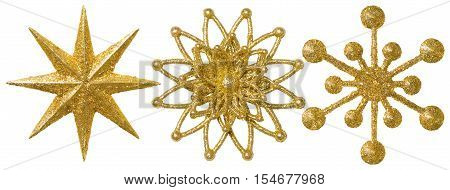 Star Snowflake Christmas Decoration Ornament Xmas Gold Sparkle Ornate White Isolated