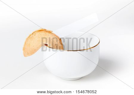 Fortune Cookie With Blank Slip In Chinese Tea Cup