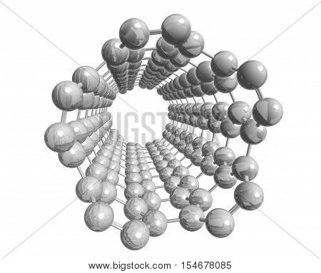 Molecular structure of nanotube (silver) - carbon atoms in form of hollow tube 3D rendering