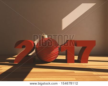 Red 2017 text and red christmas ball on wooden background, indors. Light coming from window, abstract. 3d rendering.