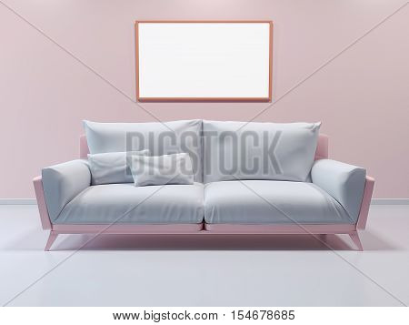 3d interior mockup, framed poster on wall. Sofa in the room in pastel colors. 3d rendering. 3d illustration