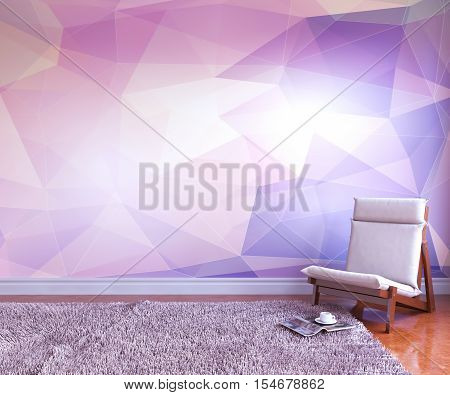 3d interior room. Modern minimalistic design. hair, rug, log, a cup, a wall with colored geometric Shape. 3d redering. 3d illustration