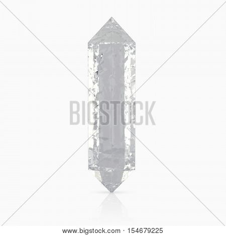 3d realistic white crystals, on a white background with reflections. 3d redering. 3d illustration