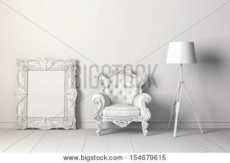 3d vintage interior with arm chair and floor lamp