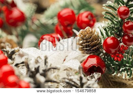 Christmas Decoration Decorative Pine Cone Red Berry Macro Shallow dof