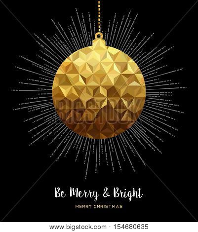 Gold Christmas Ornament Bauble In Low Poly Style