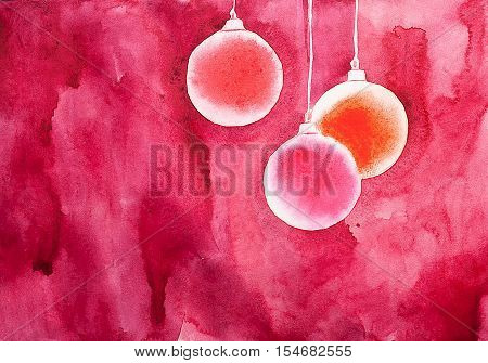 Watercolor painted hand drawn Christmas balls on wine red background