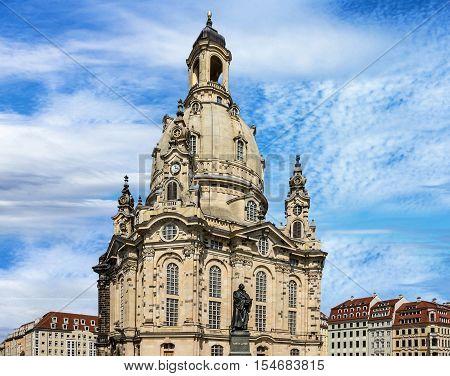 Dresden, Germany. Frauenkirche Cathedral church building, Landmark