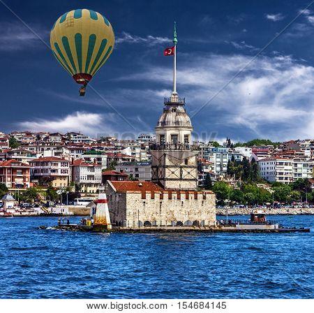 Istanbul, Turkey. Maiden's Tower, landmark, Bosporus seascape
