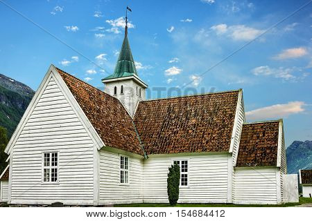 Old wooden Lutheran church building, Olden, Norway