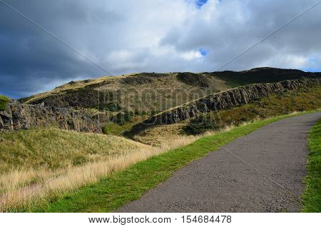 Hillwalking stone path at Arthur's Seat in Scotland.