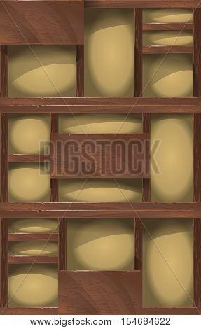 Vector wooden shelves background, vintage rack for domestic trivia.