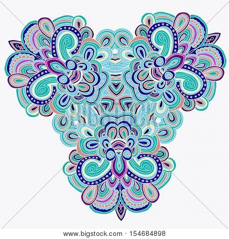 blue and violet uncolored hand drawn pattern. Mandala pattern. Can be used as anti-stress coloring tracery. African motif. Sacred geometry
