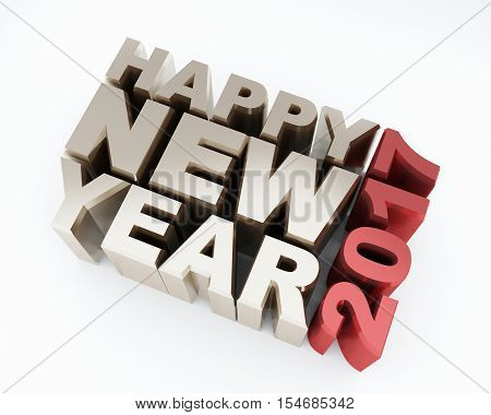 Metallic happy new year 2017 text on white background. 3d rendering.