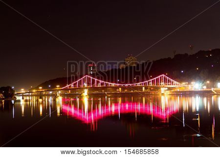 Bright Bridge Over The River.