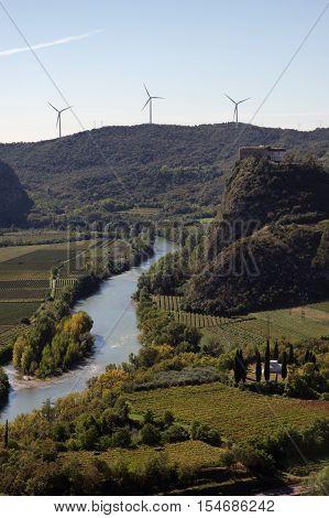 Aerial view of the Adige Valley (Rivoli Veronese) near the Garda Lake Verona Veneto Italy