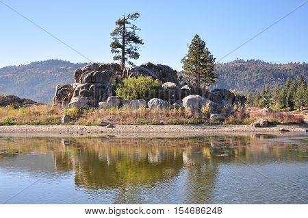 View of Big Bear Lake in the San Bernardino Mountains in Southern California.