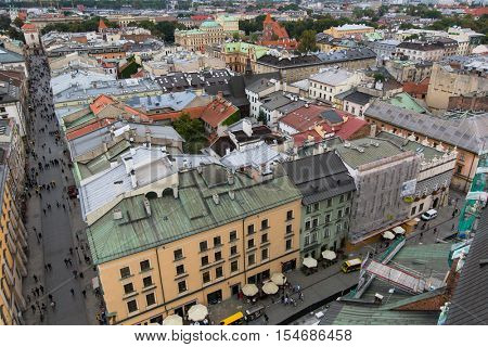 KRAKOW, POLAND - SEP 20, 2016: Top view of a historic buildings in the Old Sity. Krakow has been awarded a number of top international rankings such as the 1st place in the Top city-break destinations