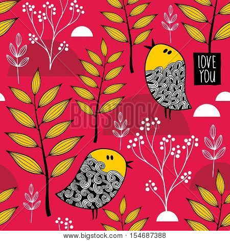 Romantic wallpaper with cute small birds on the autumn background. Vector pattern.