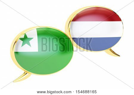 Speech bubbles Dutch-Esperanto translation concept. 3D rendering