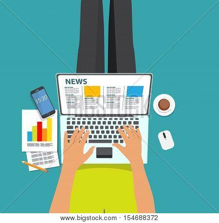 Online News Vector illustration. Flat computing background. EPS10
