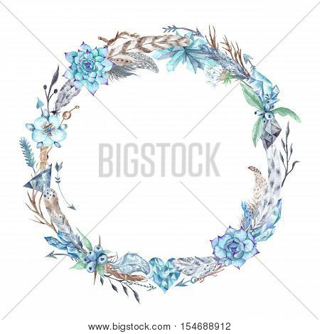 Circle tribal style wreath with feathers, crystals and flowers for wedding, event design isolated on white background