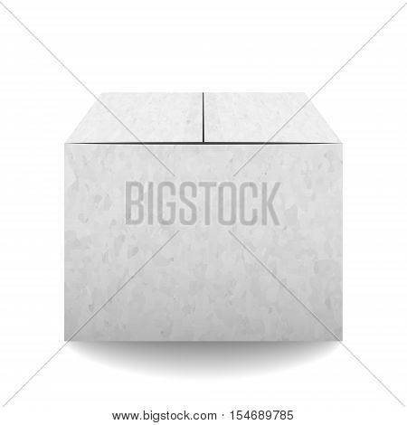 Grey Textured Closed Carton Delivery Packaging Box Isolated On White Background. Vector Illustration