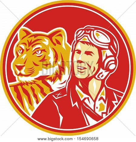 Illustration of a world war two pilot airman aviator and tiger looking to the side set inside circle done in retro style.
