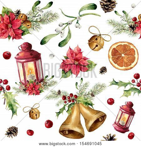 Watercolor christmas seamless pattern with decor and lantern. New year tree ornament with lantern, bell, holly, mistletoe, poinsettia, orange slice, pine cone and bow for design, print or background.