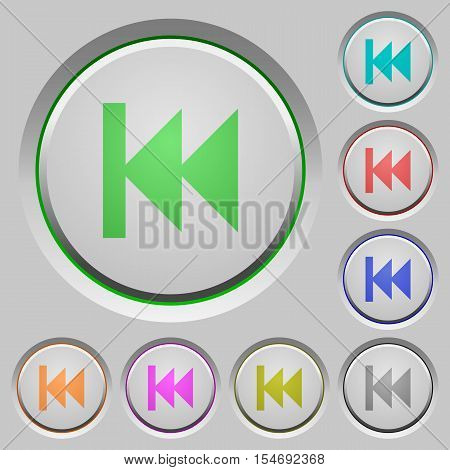 Media fast backward color icons on sunk push buttons