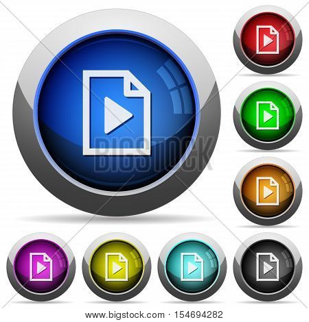 Playlist icons in round glossy buttons with steel frames