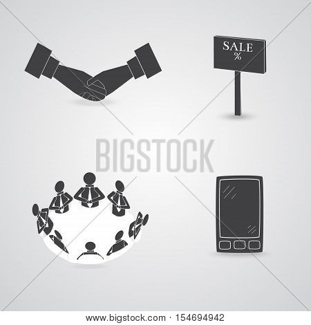 Set with Four Commerce Theme Icons, such as Handclasp, Smartphone, Sale Nameplate and People on the Negotiation Table. Vector EPS 10