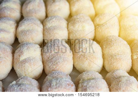 Group Of Carnival Tortelli Stuffed With Custard