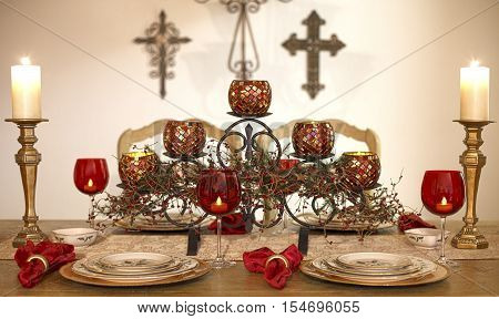 Christmas dinner set with candles and Christian cross on the background. Ideas for Christmas interior design. Religious.